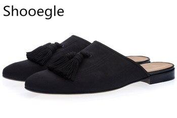 Black Tassel Men Slippers Smoking Slip-On Mules Canvas Flats Handmade Shoes Casual  Men