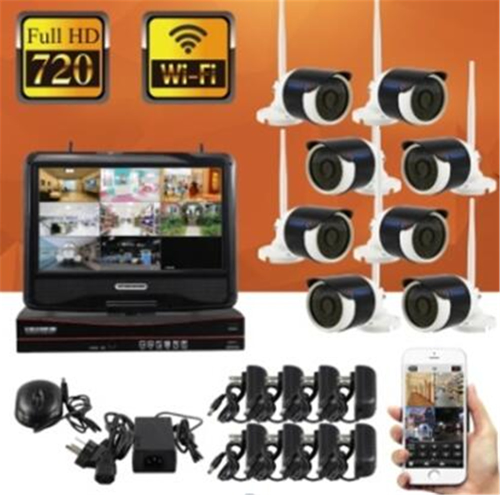 10 Inch Monitor 8CH WIFI 960p Wireless  IP Camera NVR Kit