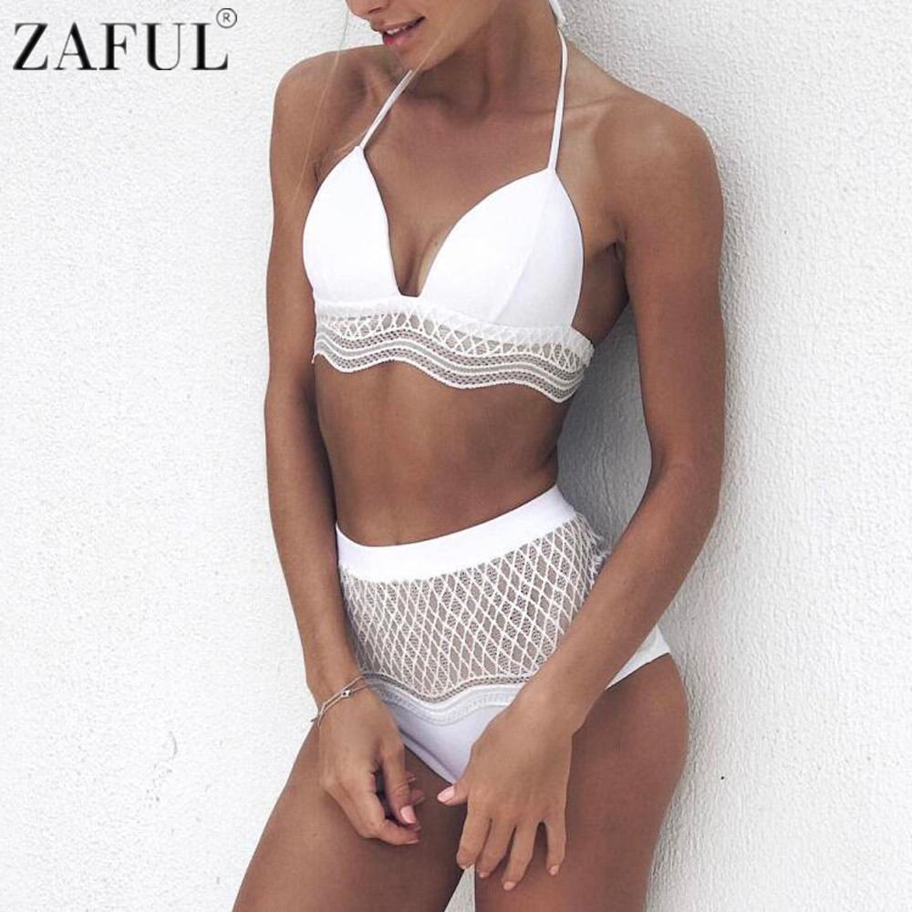 zaful women sexy high waist bikini set halter neck hollow out lace vintage swimsuit beach. Black Bedroom Furniture Sets. Home Design Ideas