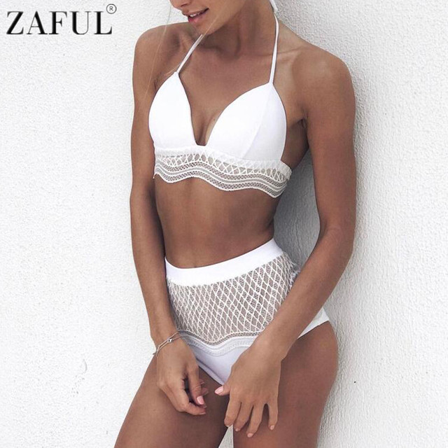 99be7f7304dc2 ZAFUL Women Sexy High Waist Bikini Set Halter Neck Hollow Out Lace Vintage  Swimsuit Beach Swimwear Bathing Suit Maillot De Bain