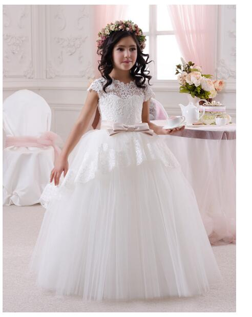 Girls Wedding Formal Dresses 2018 Summer Lace Gauze Ball Gown Flowers Girls Princess Dress Kids Birthday Prom Party Dress White cute girls fashion dress summer kid girls sleeveless belt flowers tutu princess party dresses ball gown kids dresses