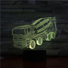 Led Night Light Concrete Agitator Mixer Truck 3d Illusion 7 Color Changing Childrens Baby Nightlight Gifts Table Lamp Bedroom