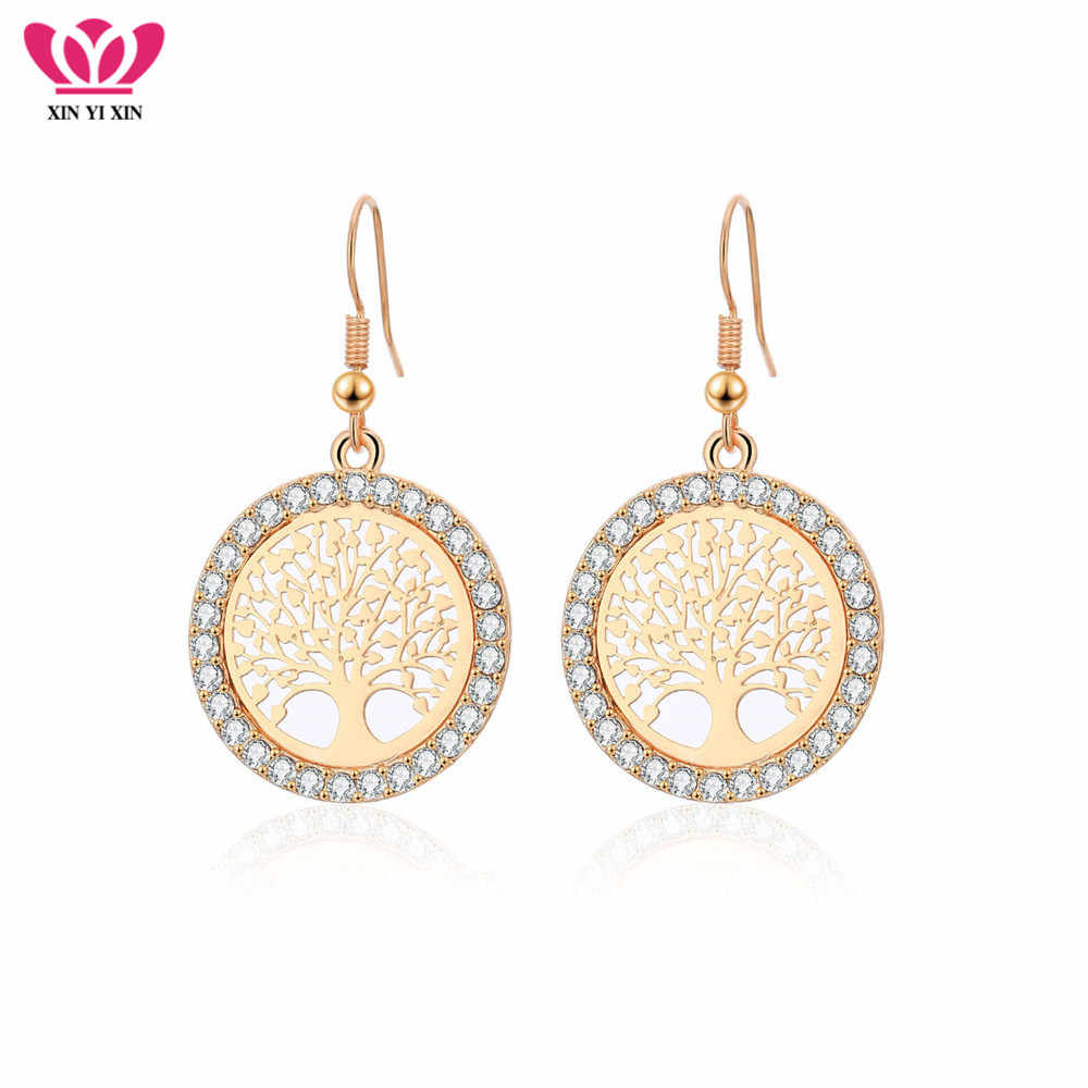 Gold Crystal Drop Earrings Women Hollow Out Tree of Life Pattern Round Earring moda mujer Jewelry 2018 Fashion Pendientes
