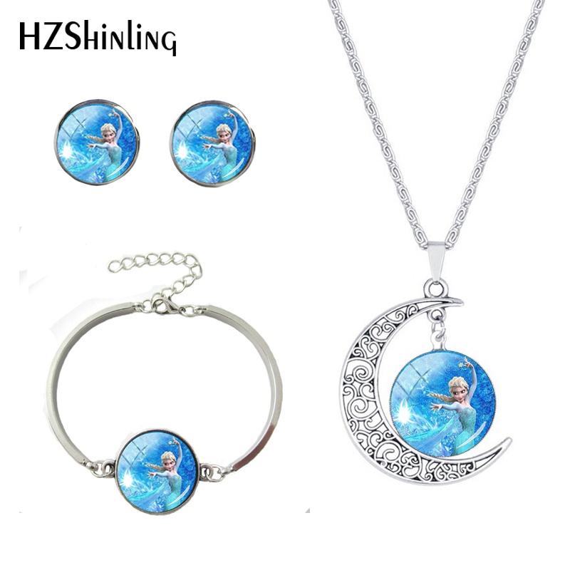 New Arrival Cartoon Snow Queen Elsa Princess Movie Silver Moon Necklace Glass Cabochon Earrings Bracelets Necklace Jewelry Sets