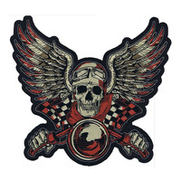Lethal Threat Vintage Biker Red Embroidered Patch for jackets back(10 x 11)