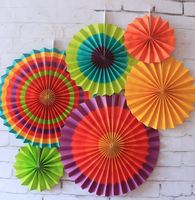 6pcs Set Colorful Tissue Paper Fan Craft Party Event Decoration Hanging Paper Fans Round Wheel Disc