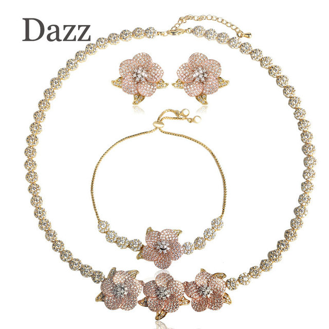 Dazz Luxury Jewelry Sets Women Copper Rhinestones Flower Necklace Earrings Bracelet Set Three Tones Color Bijoux Party Chokers