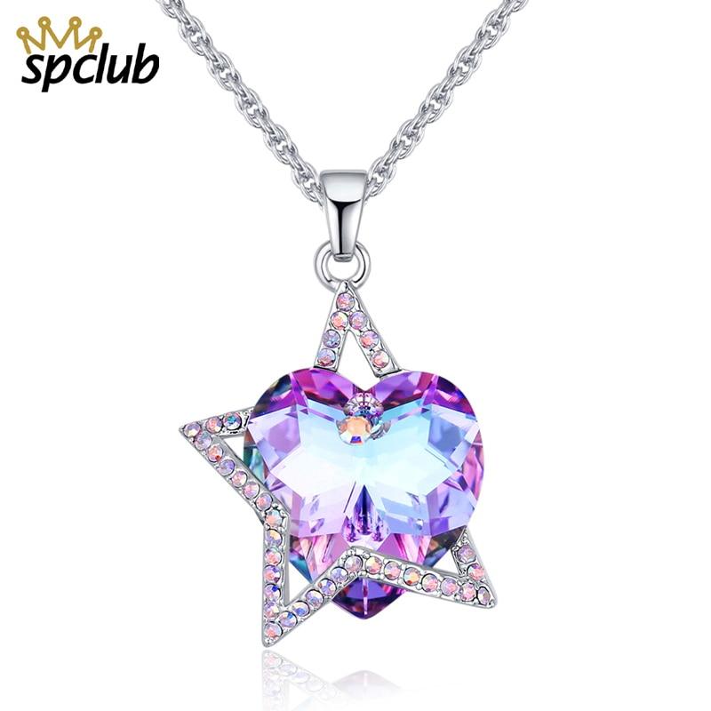 détaillant en ligne cf95c 26090 US $10.93 30% OFF SPCLUB Crystals from Swarovski Necklaces Fashion Jewelry  for Women Pendant Bijoux Femme Luxury Heart Statement Maxi Choker-in ...