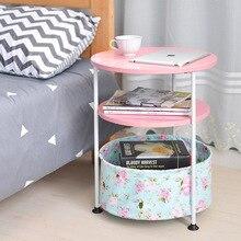 Регулируемый по высоте журнальный столик 2 и 3 слоя небольшой круглый прикроватный столик с корзиной для хранения мебели для гостиной спальни