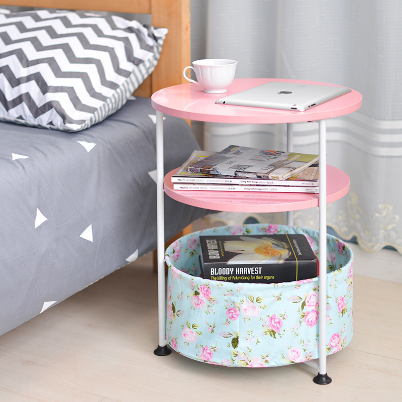 Height Adjustable Coffee Table 2 And 3 Layers Small Round Bedside Table With Storage Basket For Living Room Bedroom Furniture