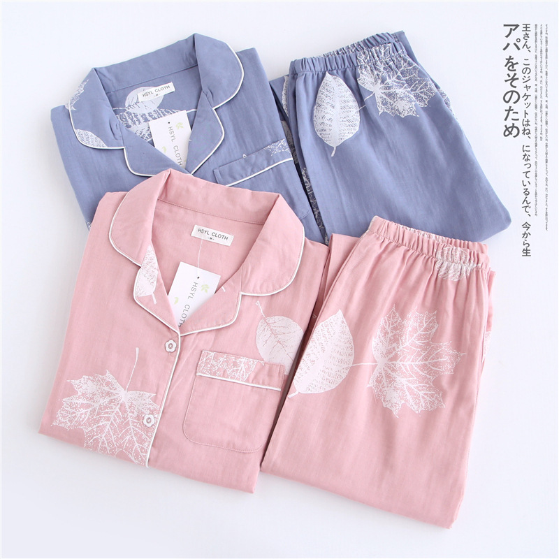HTB1v53SSpXXXXb9apXXq6xXFXXXG - Korea Fresh maple leaf pajama sets women 100% gauze cotton long sleeve casual sleepwear women pyjamas summer hot sale