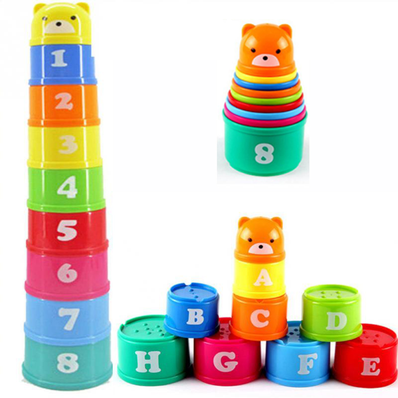 9pcs/set Excellent Kids Intelligence Toys For Children Educational Toy Building Block Figures Letters Stacking Cup Kids Gift