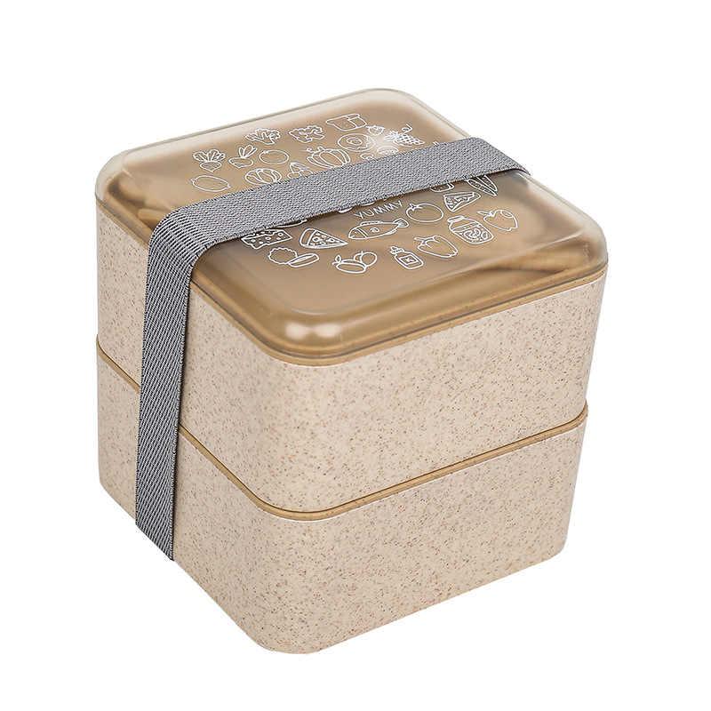 Palha de trigo De Armazenamento Caixa De Comida do Almoço Dupla Camada de Frutas Quadrado Recipiente de Alimento Caixa Bento lancheira Piquenique Jogo de Jantar À Prova de Fugas