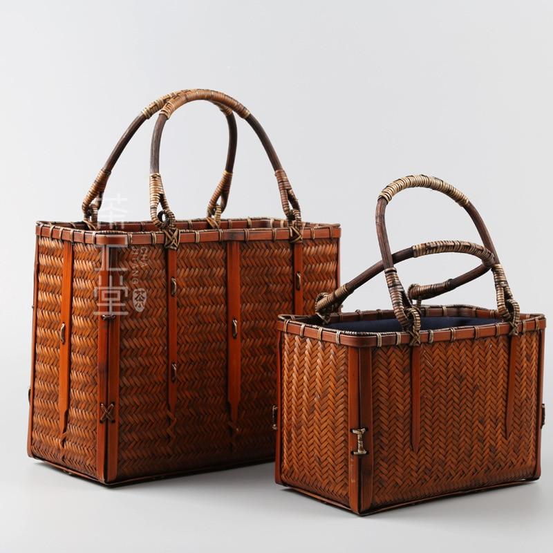 New Japanese Woven Women Bamboo Handbag With Wooden Handle Box Shape