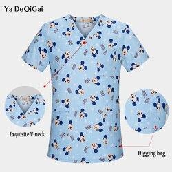 Высококачественная Больничная Спецодежда для медсестер, топы, дышащая одежда с принтом Микки, хирургическая медицинская униформа для женщ...