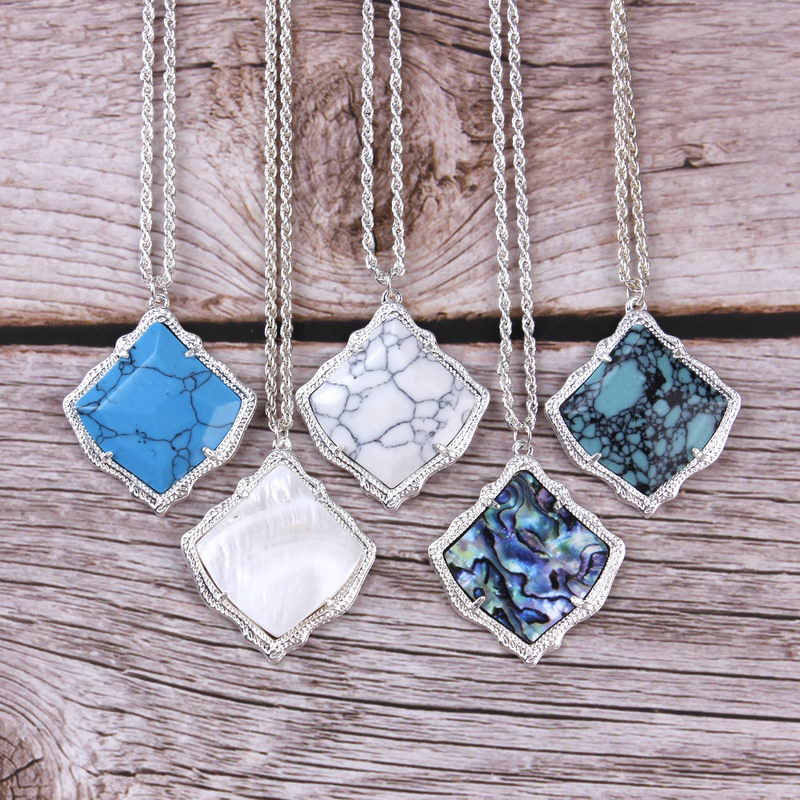 ZWPON Brand Kyrie Fan Shape Abalone Shell Pendant Necklace for Women in Choker Necklaces from Jewelry Accessories