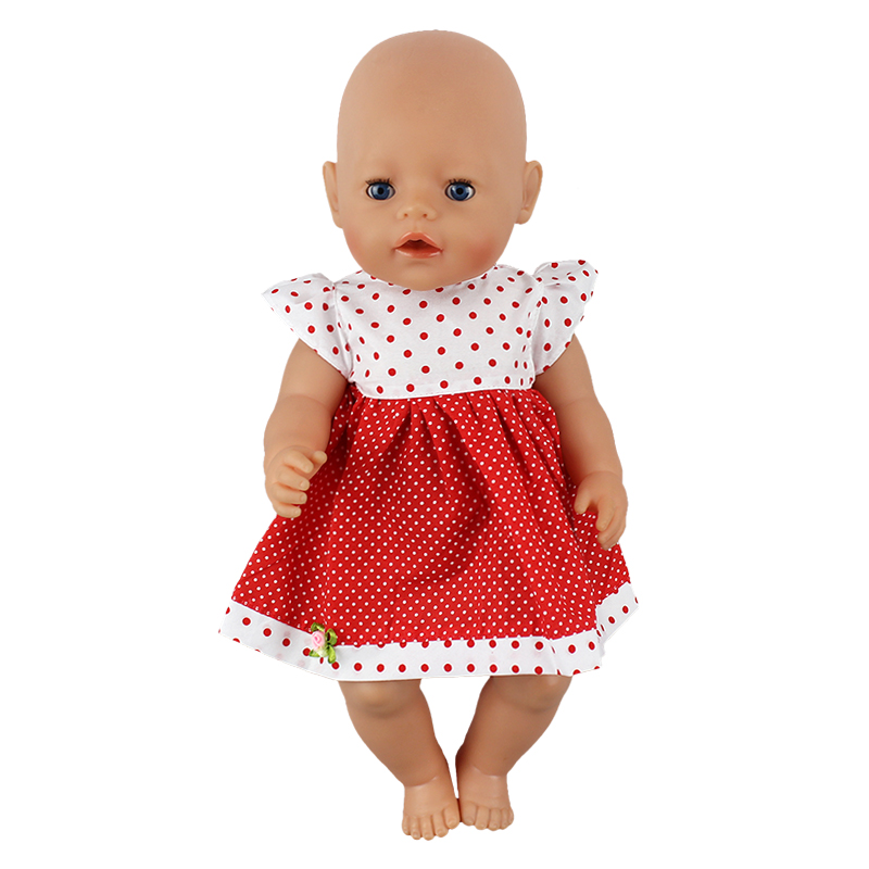 Red doll dress clothes Wear fit 43cm Baby Born zapf,  Children best  Birthday Gift(only sell clothes) 2color choose leisure dress doll clothes wear fit 43cm baby born zapf children best birthday gift only sell clothes