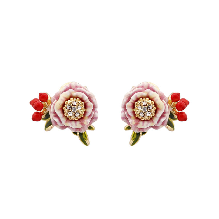 Monet Garden Series Pink Flower Red Fruit Enamel Stud Earrings Women brincos 2017 Fashion Animale Flower Jewelry Orecchini Donna