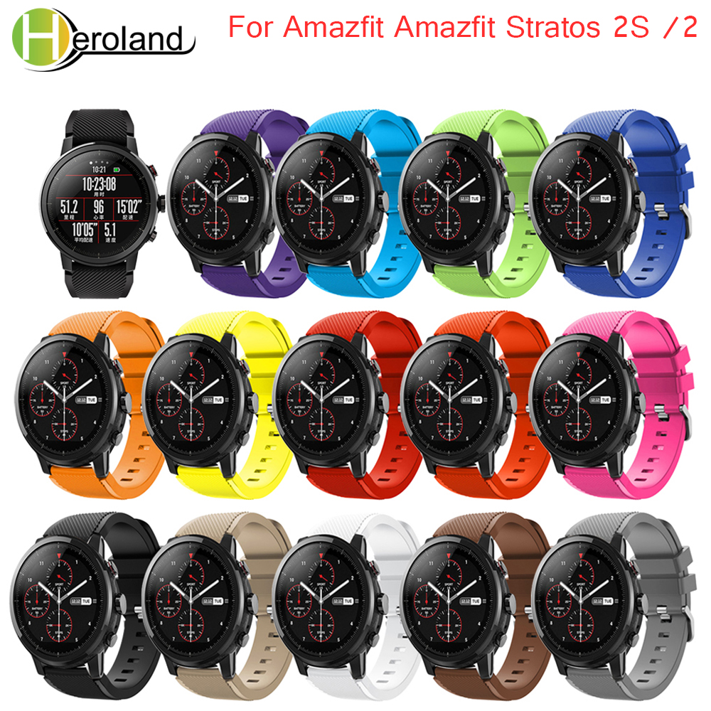 Watchbands 22mm Sport Silicone Strap  For Samsung Gear S3 Frontier Classic Replacement Band For Huami Amazfit Stratos 2/2S strapWatchbands 22mm Sport Silicone Strap  For Samsung Gear S3 Frontier Classic Replacement Band For Huami Amazfit Stratos 2/2S strap