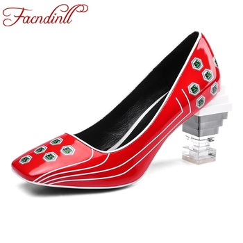FACNDINLL new 2019 spring autumn women pumps shoes sexy high heels square toe high qulaity dress party office ladies shoes pumps
