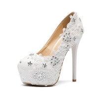Women Shoes Bride Pumps 14cm High Heels White Lace Flowers Silver Stars Large Plus Big Size 11 Platform 3cm Female Shoes