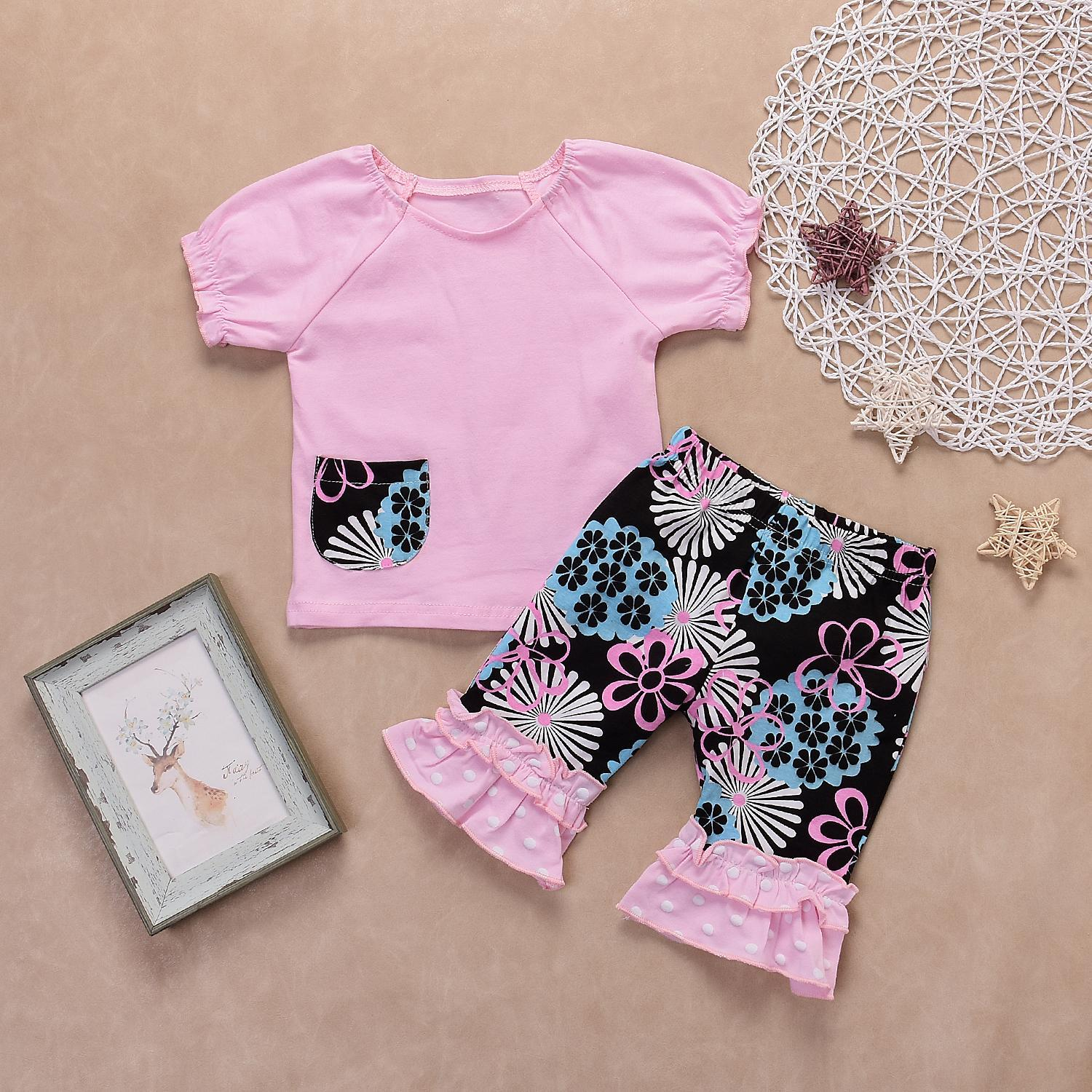 OpenBeauty 1 Set Girl Baby Summer Pink Ruffle Top Cropped Pants Floral Elastic Shorts Set Comfortable for 3-24 Months Baby
