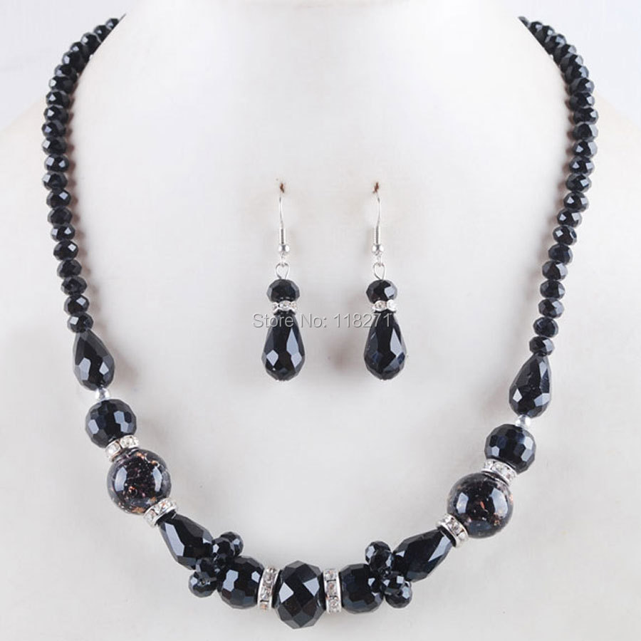 Free shipping Black Dichroic Glass Round Crystal Faceted Beads Necklace Earrings Charm PM3077
