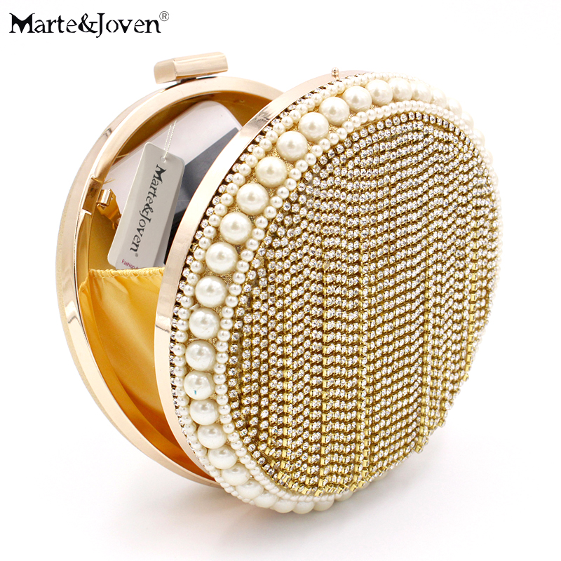 [Marte&Joven] Luxury Design Round Women Gold Evening Bags with Bling Ladies Party/Wedding Pearl/Crystal Gold Small Clutch Bag luxury crystal clutch handbag women evening bag wedding party purses banquet