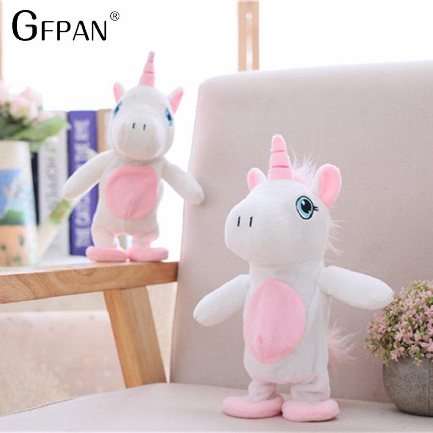 2018 Venta caliente 25/35 cm unicornio divertido para caminar y hablar peluche caballo juguete sonido Record peluche unicornio regalo creativo para los niños