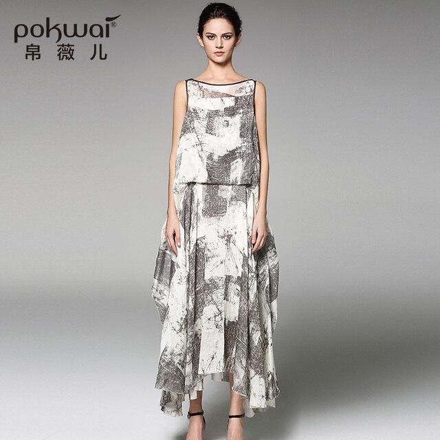Pokwai Long Dress POKWAI Long Vintage Summer Silk Dress Women High Quality Women Fashion 2017  New Arrival Full Sleeve