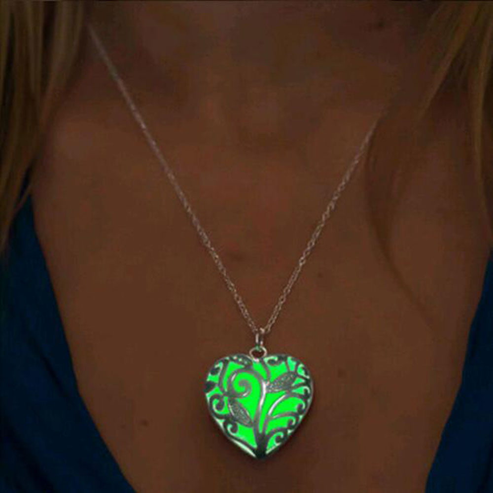 New Glow In The Dark Locket Silver Hollow Glowing Stone Pendant Statement Chocker Pendants Necklace For Women Free shipping