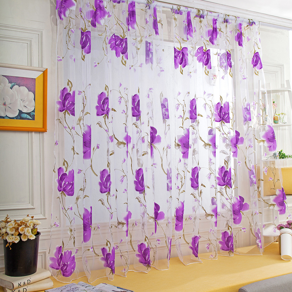 Curtains Valances Panel Door Sheer Tulle Window Living-Room Vines-Leaves Voilage 1pcs title=