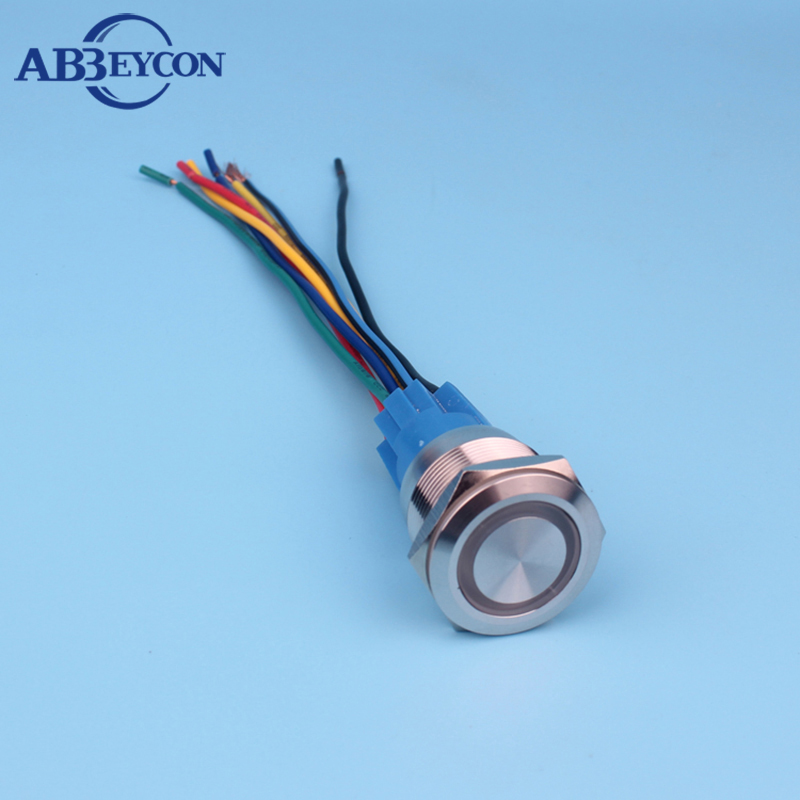 22mm 12V RGB three color LED light ring illuminated momentary ON waterproof push button switch with 150mm wire harness-in Switches from Lights & Lighting    1