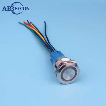 22mm 12V RGB three-color LED light ring illuminated momentary ON waterproof push button switch with 150mm wire harness - SALE ITEM - Category 🛒 Lights & Lighting