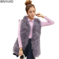BINYUXD Hot Sale New 2017 Women Winter Encryption 100% Natural Ostrich Feathers Turkey Feather Fur Vest Vest Fur Coat Fur Coat