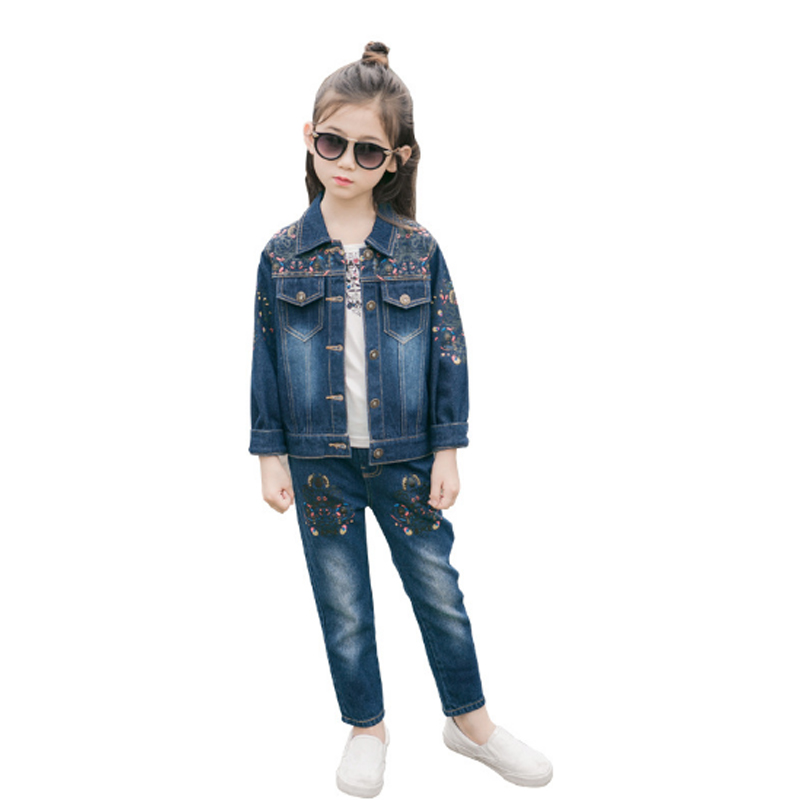 Baby Girls Clothes Sets Kids Suits Autumn 2018 Girl Sets Denim Coat Pants 2Pcs Girls Suit Cotton Sweet Children Clothing 3cs104 malayu baby kids clothing sets baby boys girls cartoon elephant cotton set autumn children clothes child t shirt pants suit