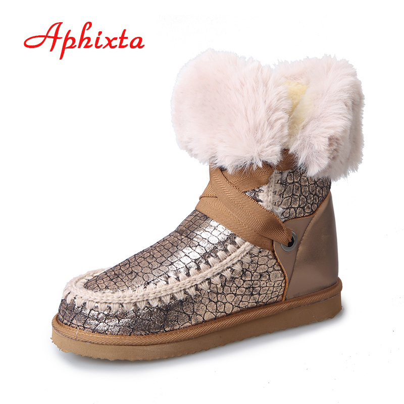 Aphixta Warm Winter Shoes Women Boots Snow Botas Lace Up Classic Mujer Fur Mid-calf Boots Ladies Shoes Champagne Size 36-41