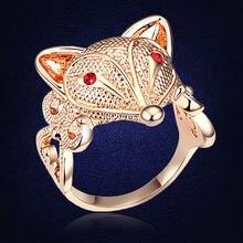 Женское кольцо с лисой розовое золото уникального дизайна ювелирное