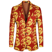 2018 New Arrival Mens jacket Slim Fit Casual 2 Button Printed Suit Men Floral Dragon design Blazer male suits coat Oversized
