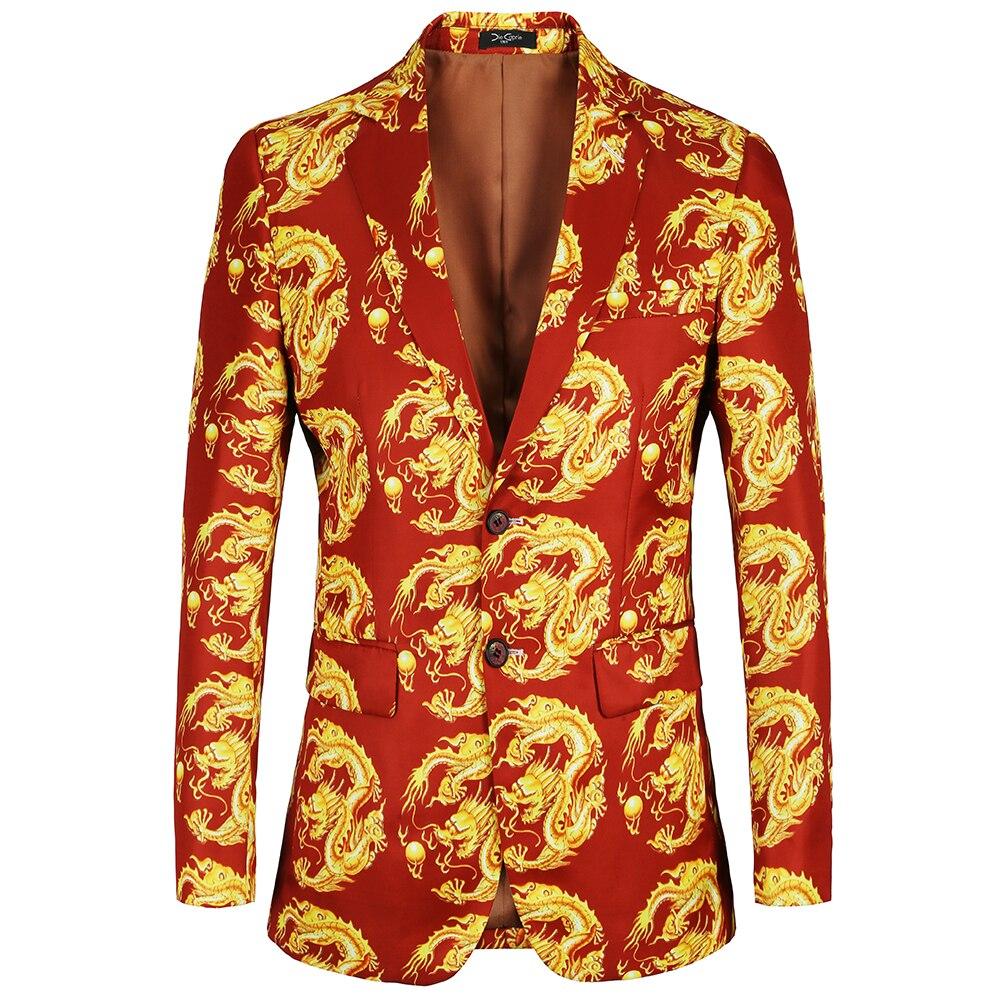 2018 Neue Ankunft Mens Jacke Slim Fit Casual 2 Taste Gedruckt Anzug Männer Floral Drachen Design Blazer Männlichen Anzüge Mantel übergroßen Kaufe Jetzt