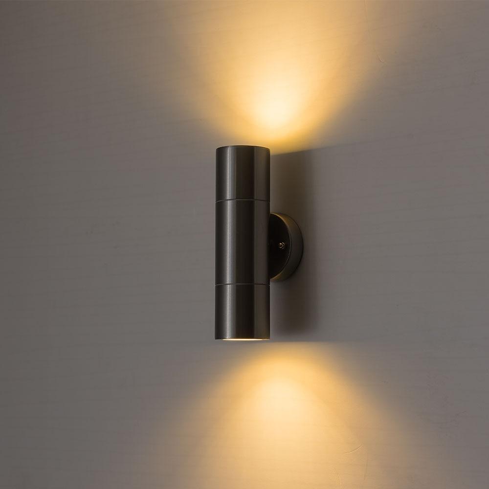CHJJLL вверх вниз настенный светильник Крытый настенный светильник серебряный корпус Настенный бра внутреннего освещения лампы