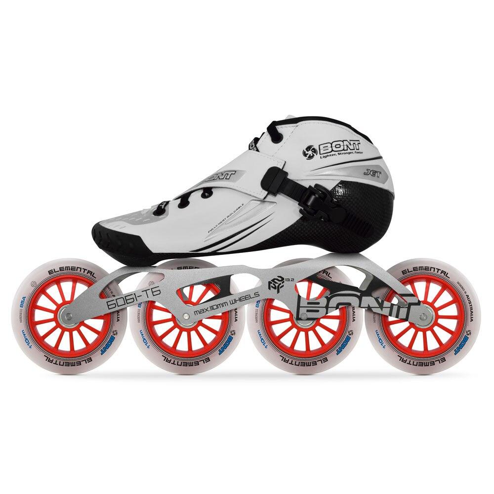 Image 5 - 2019 Original Bont Jet 2PT Speed Inline Skates Heatmoldable CarbonFiber Boot 4*90/100/110mm 6061 Elemental Wheel Skating PatinesSkate Shoes   -