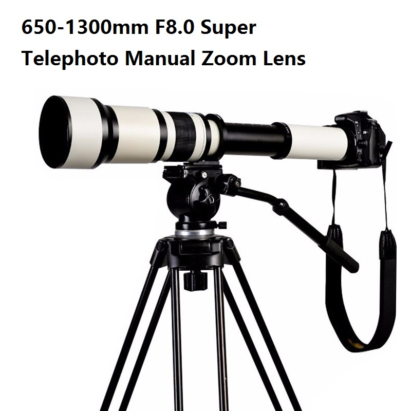 Lightdow 650-1300mm F8.0-F16 Super Telephoto Manual Zoom Lens + T2-Nikon pentru Nikon D3100 D3200 D5000 D5100 D5200 D7100 Cameră DSLR
