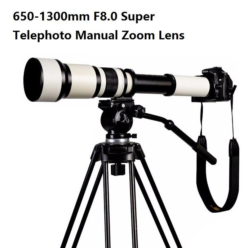 Lightdow 650-1300mm F8.0-F16 Super téléobjectif Zoom manuel + T2-Nikon pour Nikon D3100 D3200 D5000 D5100 D5200 D7100 DSLR appareil photo