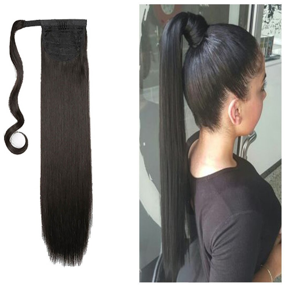 24 120g Straight Clip In Hair Tail False Hair Ponytail Hairpiece With Hairpins Synthetic Hair Pony Tail Hair Extensions AOSIWIG