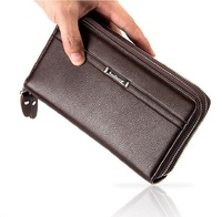 Newest Men S High Quality Double Zipper Money Wallet Purse Clutch Handbags WA417