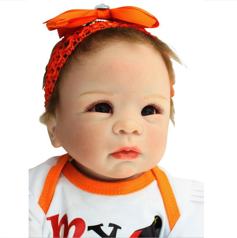 22 55CM Lovely Silicone Reborn Baby Dolls Realistic Hobbies Handmade Baby Alive Doll For Girls Safe Classic Juguetes Brinquedos