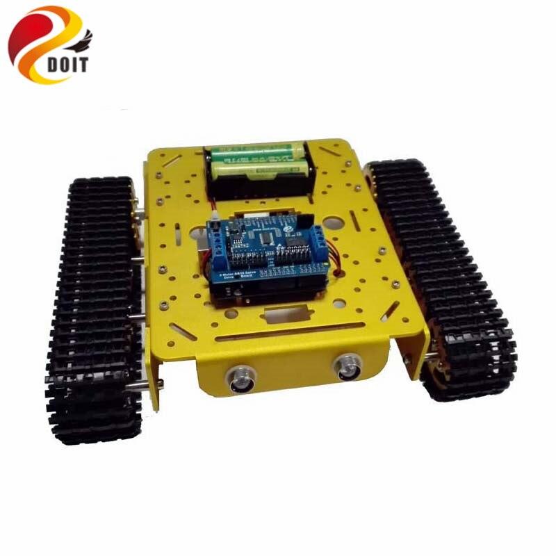 Châssis de réservoir WiFi RC T200 par téléphone Android/iOs avec carte de développement ar-duino + panneau de blindage d'entraînement + jouet de bricolage 2 moteurs