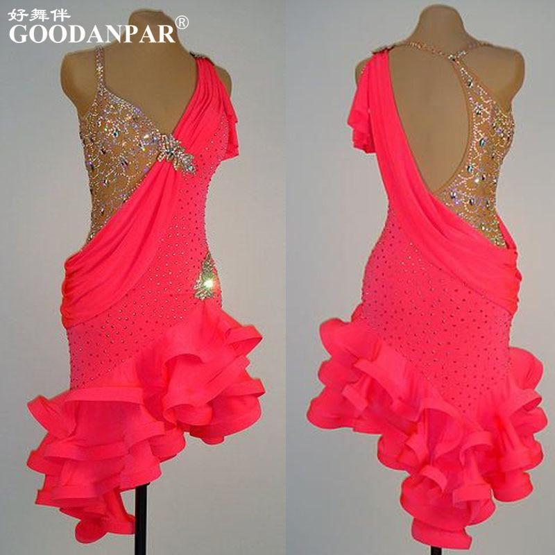 NEW!Latin Dance Dress,tango Salsa Samba Dance Dress, Latin Dance Wear , Cha-cha Dance Dress,Sexy V Neck,Special Color
