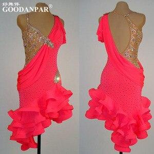 Nouveau! Robe de danse latine, robe de danse samba tango salsa, vêtements de danse latine, robe de danse cha-cha, col en V Sexy, couleur spéciale